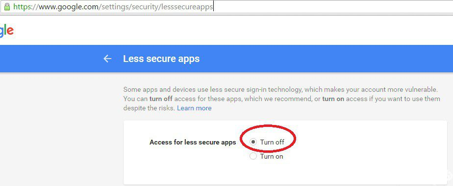 Access for less secure apps google