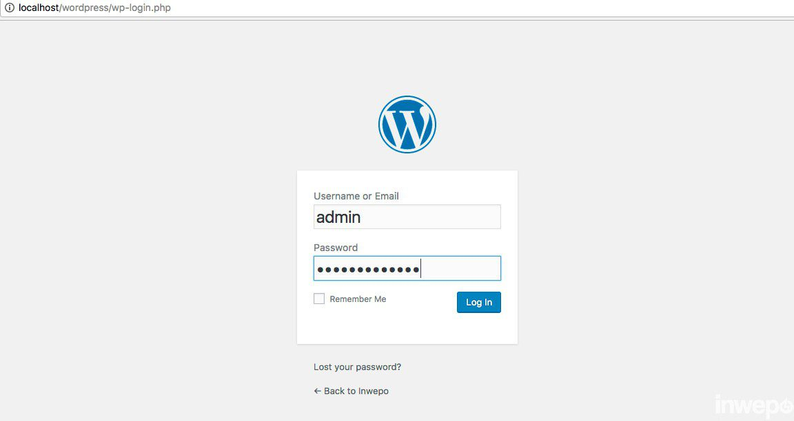 login wordpress localhost