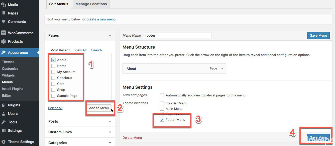membuat link menu footer di wordpress